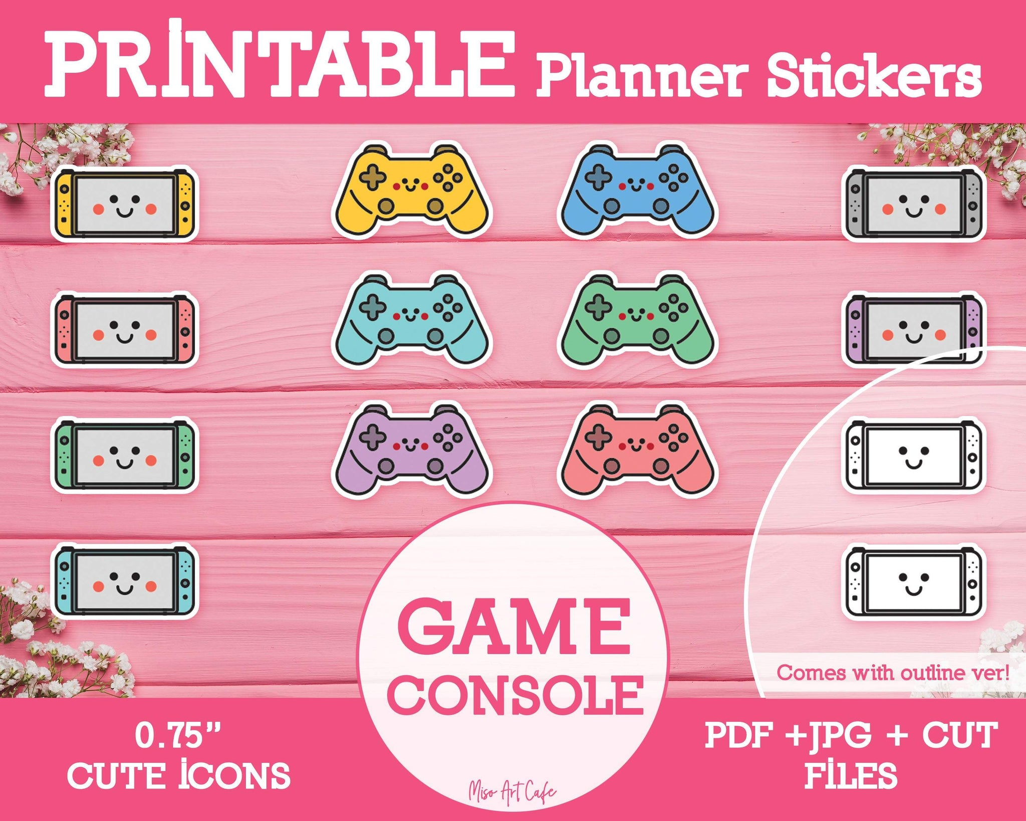 Printable Game Console Icons - Cute Vector Icon Planner Stickers - Miso Art Cafe