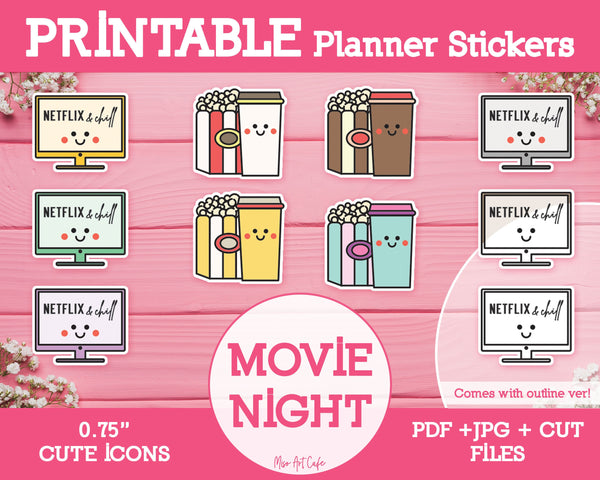 Printable Movie Night Icons - Cute Vector Icon Planner Stickers - Miso Art Cafe Stickers for Planners