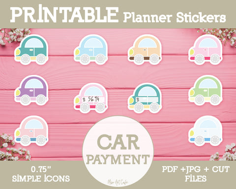 Printable Car Payment Icons - Simple Vector Icon Planner Stickers - Miso Art Cafe