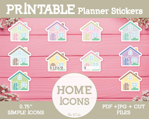Printable Home Icons - Simple Vector Icon Planner Stickers - Miso Art Cafe
