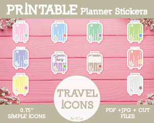 Printable Travel / Luggage Icons - Simple Vector Icon Planner Stickers - Miso Art Cafe Stickers for Planners