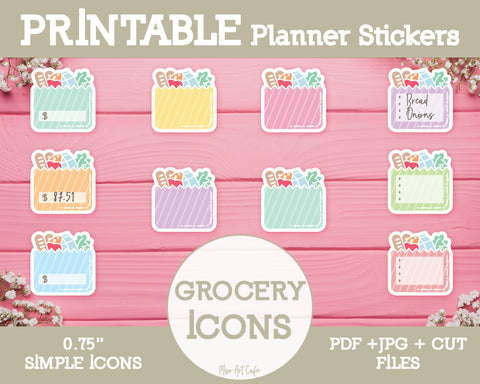 Printable Grocery List Icons - Simple Vector Icon Planner Stickers - Miso Art Cafe