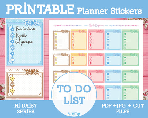Printable To Do Lists - Hi Daisy Planner Stickers - Miso Art Cafe Stickers for Planners