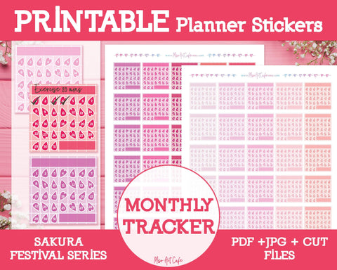 Printable Monthly Habit Trackers - Sakura Festival Planner Stickers - Miso Art Cafe