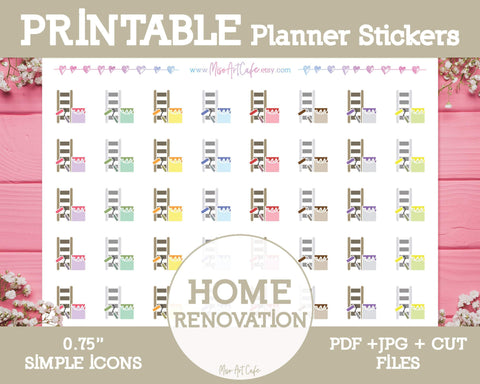 Printable Home Renovation Icons - Simple Vector Icon Planner Stickers - Miso Art Cafe