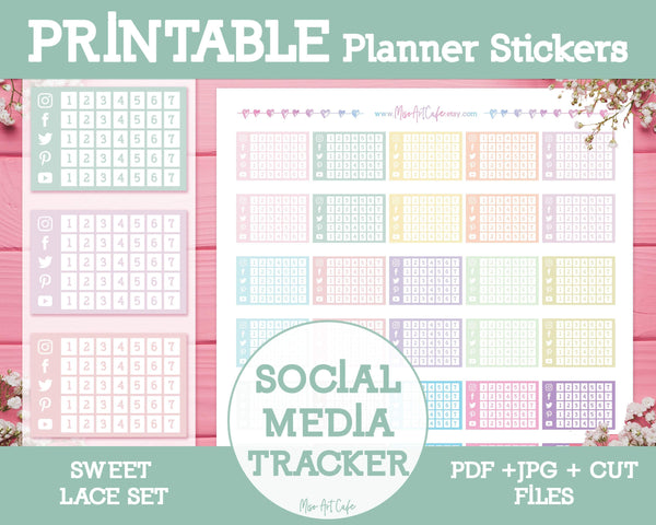 Printable Social Media Tracker - Sweet Lace Planner Stickers - Miso Art Cafe