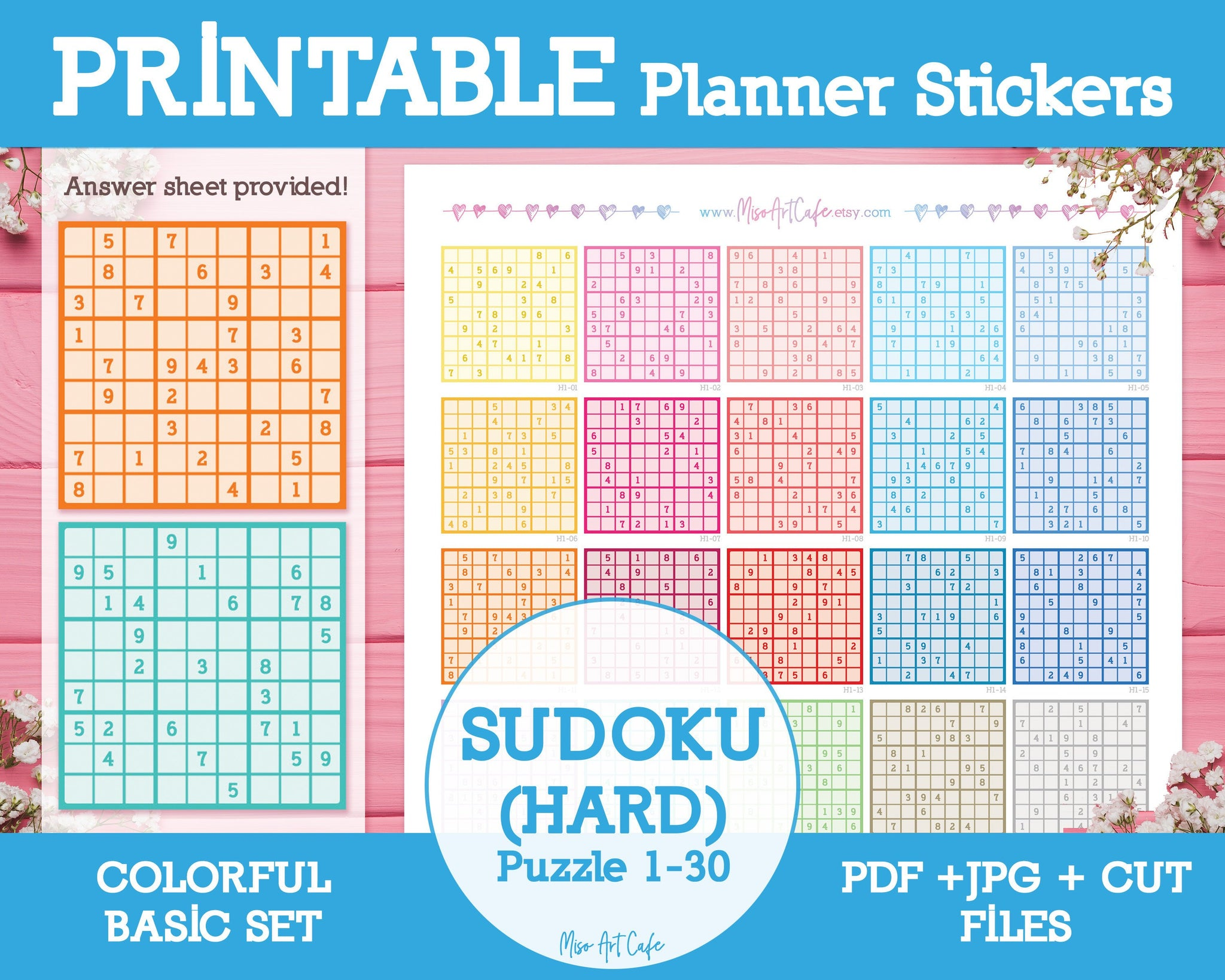 Printable Sudoku (Hard) - Colorful Basic Planner Stickers - Miso Art Cafe