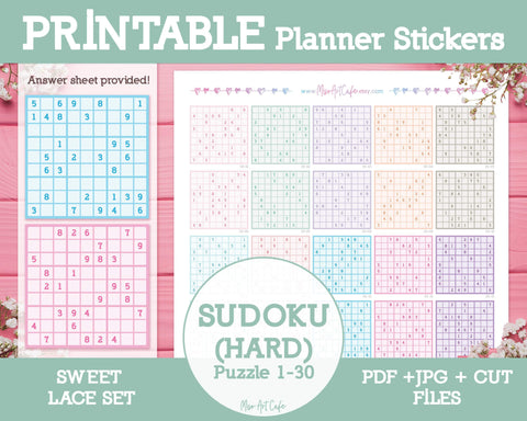 Printable Sudoku (Hard) - Sweet Lace Planner Stickers - Miso Art Cafe