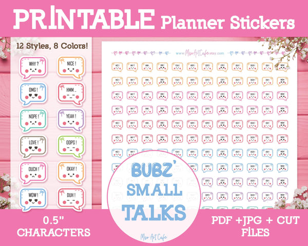 Printable Bubz' Small Talk - Character Planner Stickers - Miso Art Cafe