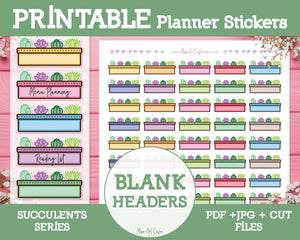 Printable Blank Headers - Succulents Planner Stickers - Miso Art Cafe