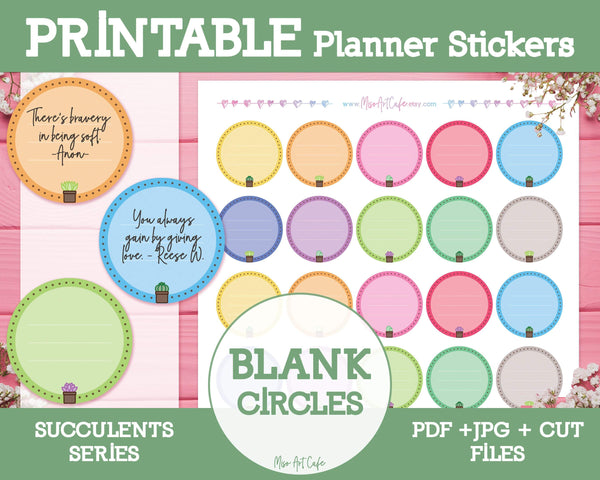 Printable Blank Circles - Succulents Planner Stickers - Miso Art Cafe