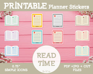 Printable Reading Time Icons - Simple Vector Icon Planner Stickers - Miso Art Cafe Stickers for Planners