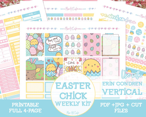 Printable Easter Chick Weekly Kit - Erin Condren Vertical - Miso Art Cafe
