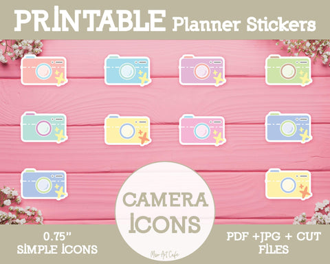 Printable Camera Icons - Simple Vector Icon Planner Stickers - Miso Art Cafe
