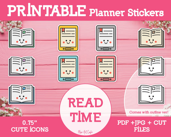 Printable Reading Time Icons - Cute Vector Icon Planner Stickers - Miso Art Cafe Stickers for Planners