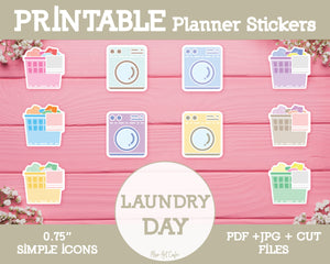 Printable Laundry Day Icons - Simple Vector Icon Planner Stickers - Miso Art Cafe Stickers for Planners