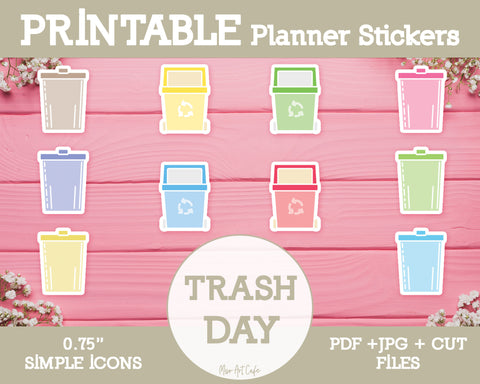 Printable Trash Day Icons - Simple Vector Icon Planner Stickers - Miso Art Cafe Stickers for Planners