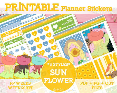 Printable Sunflower Weekly Kit - PrintPression PP Weeks - Miso Art Cafe Stickers for Planners
