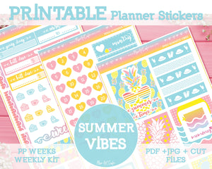 Printable Summer Vibes Weekly Kit - PrintPression PP Weeks - Miso Art Cafe Stickers for Planners