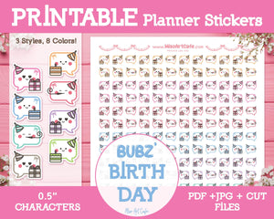 Printable Bubz' Happy Birthday - Character Planner Stickers - Miso Art Cafe