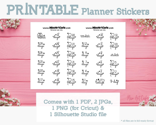 Printable 31-Days Countdown Foil-Ready Scripts - Typography Planner Stickers - Miso Art Cafe