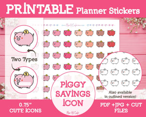 Printable Piggy Bank Savings Icons - Cute Vector Icon Planner Stickers - Miso Art Cafe