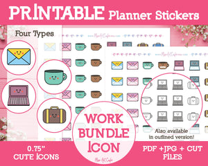 Printable Work Bundle Icons - Cute Vector Icon Planner Stickers - Miso Art Cafe