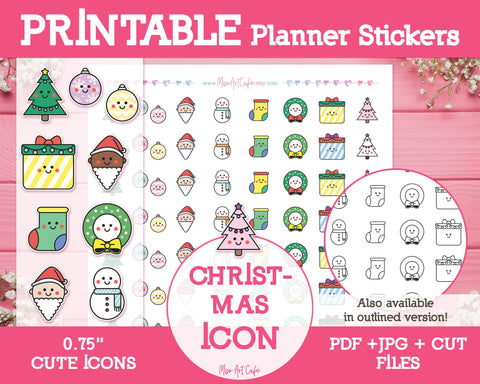 Printable Christmas Icons - Cute Vector Icon Planner Stickers - Miso Art Cafe