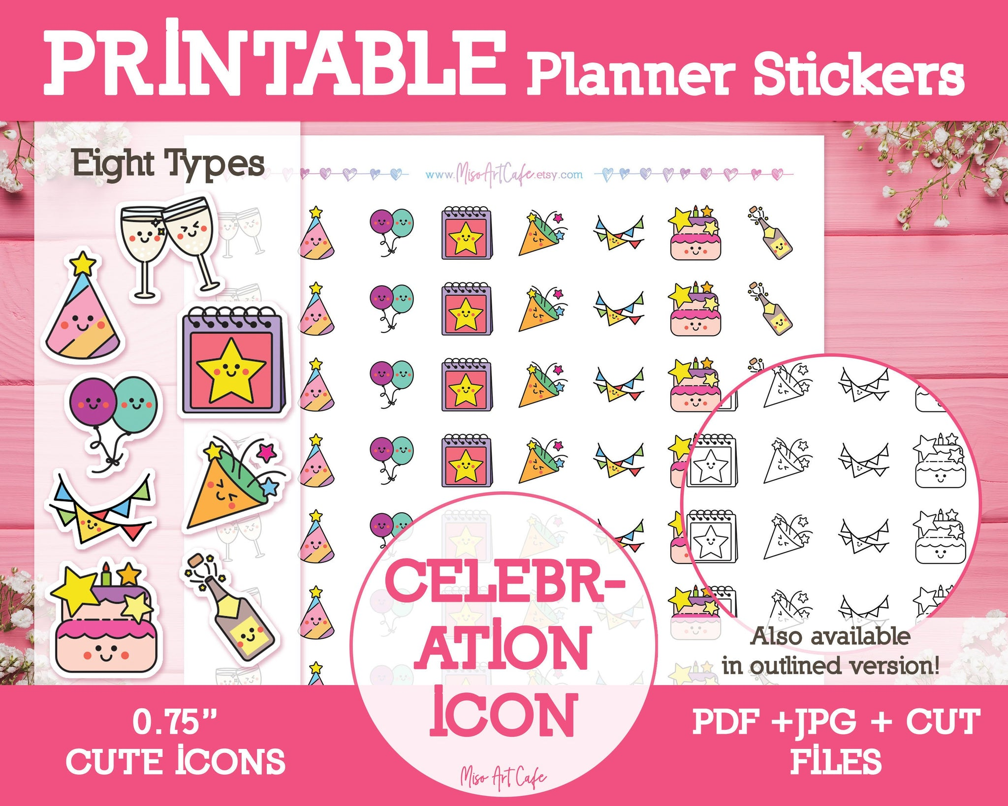 Printable Celebration Icons - Cute Vector Icon Planner Stickers - Miso Art Cafe