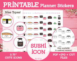 Printable Sushi Icons - Cute Vector Icon Planner Stickers - Miso Art Cafe Stickers for Planners
