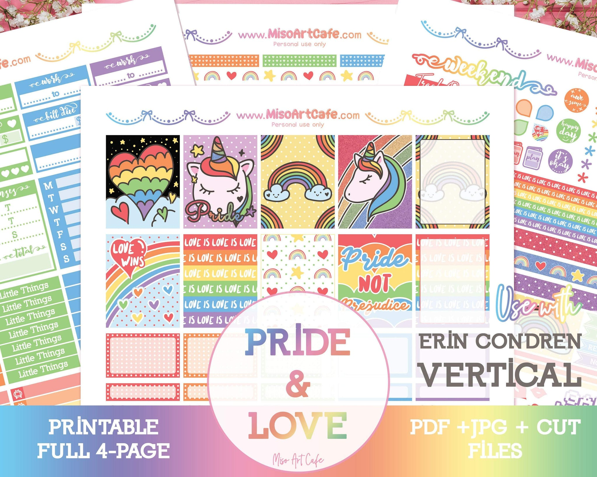 Printable Pride & Love Weekly Kit - Erin Condren Vertical - Miso Art Cafe