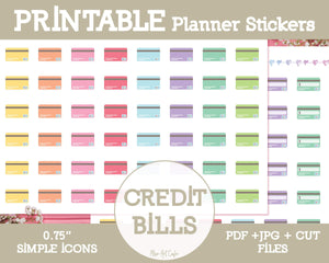 Printable Credit Card Icons - Simple Vector Icon Planner Stickers - Miso Art Cafe