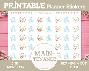 Printable Maintenance Icons - Simple Vector Icon Planner Stickers - Miso Art Cafe