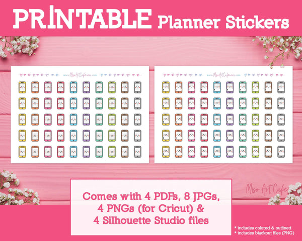 Printable Phone Bills Icons - Cute Vector Icon Planner Stickers - Miso Art Cafe