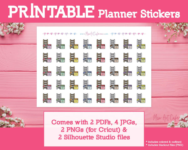 Printable Home Renovation Icons - Cute Vector Icon Planner Stickers - Miso Art Cafe