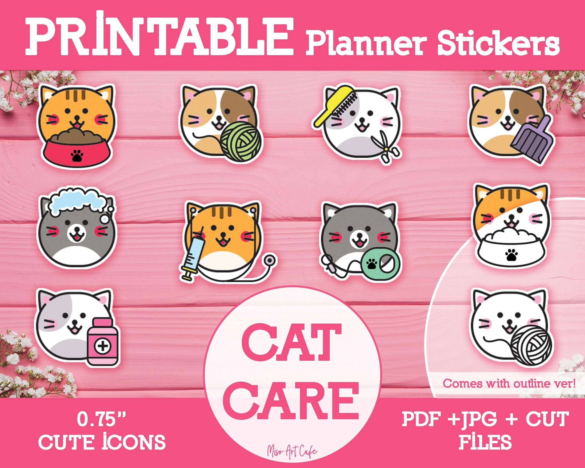 Printable Cat Care Icons - Cute Vector Icon Planner Stickers - Miso Art Cafe