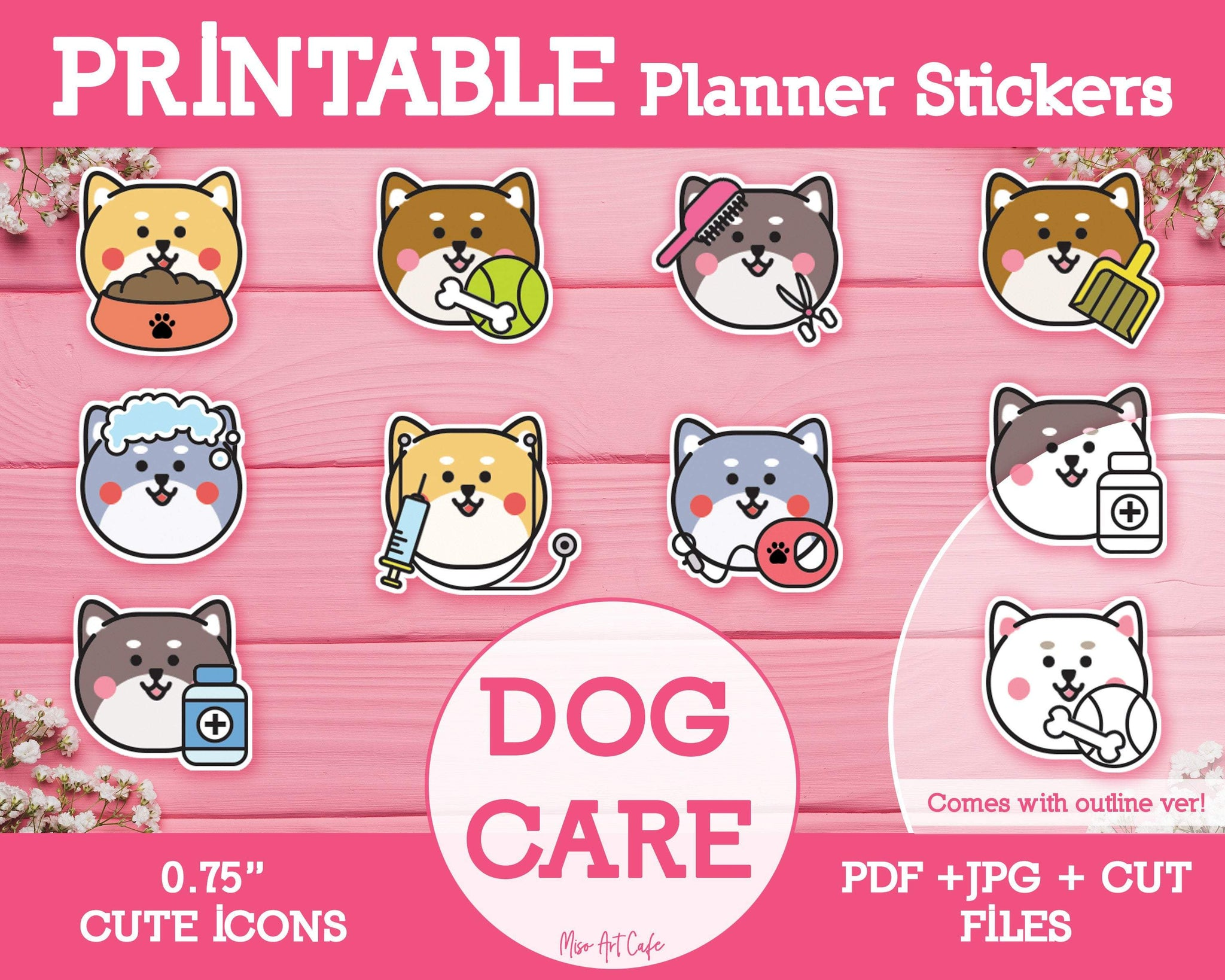 Printable Dog Care Icons - Cute Vector Icon Planner Stickers - Miso Art Cafe