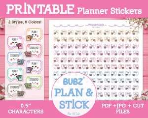 Printable Bubz' Planning - Character Planner Stickers - Miso Art Cafe