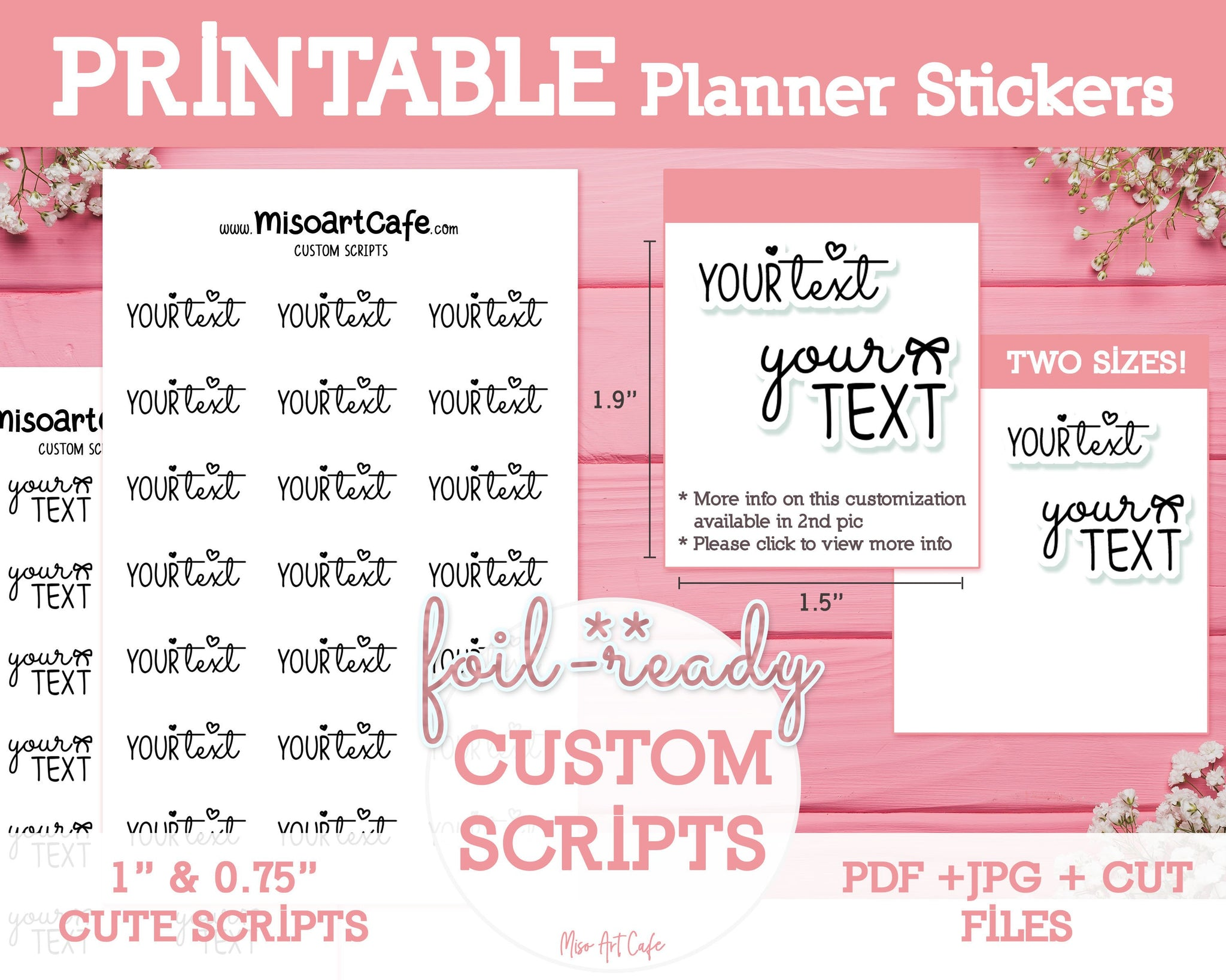 CUSTOM Printable Foil-Ready Scripts - Typography Planner Stickers - Miso Art Cafe