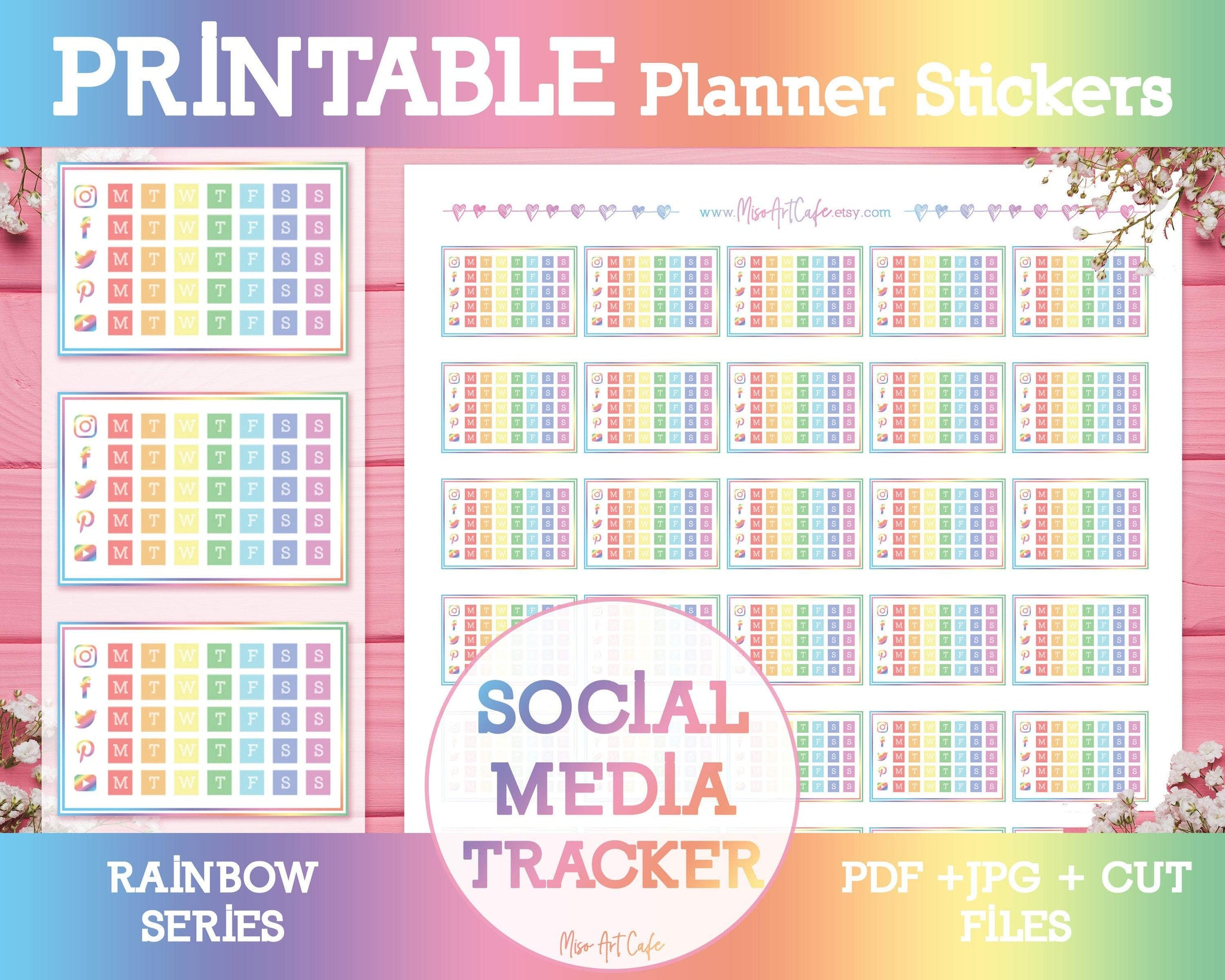 Printable Social Media Tracker - Rainbow Planner Stickers - Miso Art Cafe