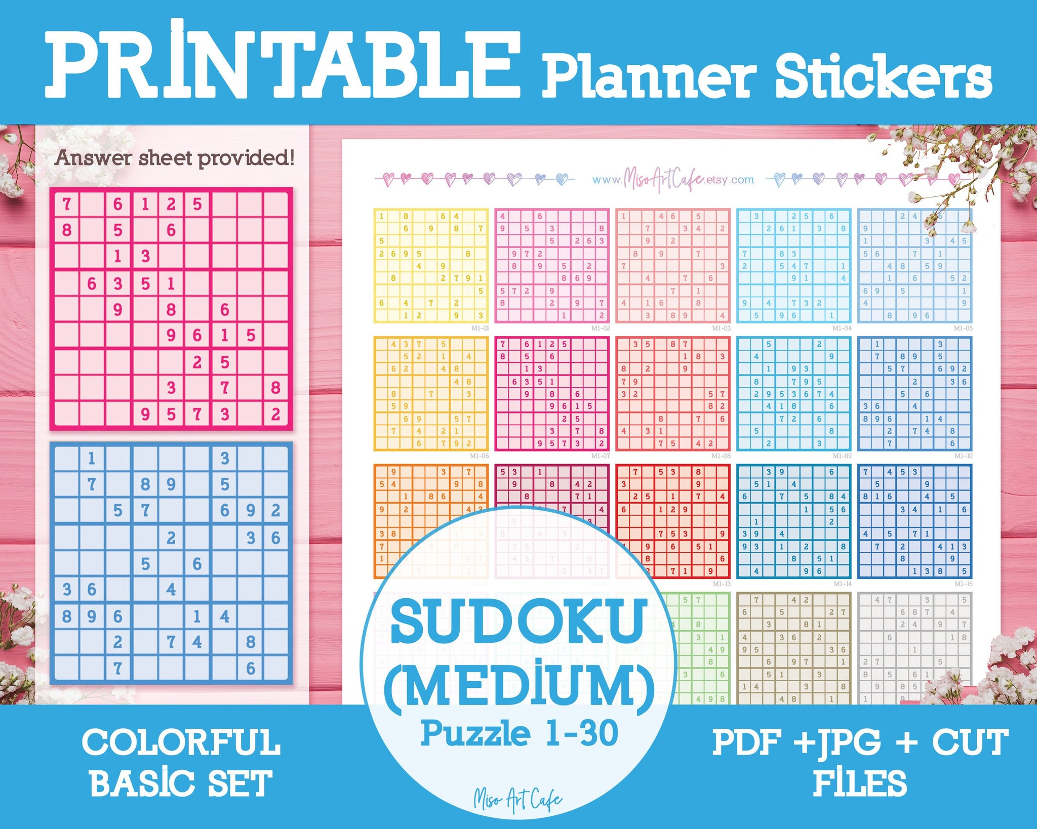 Printable Sudoku (Medium) - Colorful Basic Planner Stickers - Miso Art Cafe