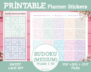 Printable Sudoku (Medium) - Sweet Lace Planner Stickers - Miso Art Cafe