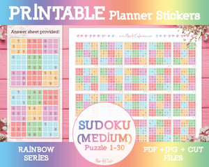 Printable Sudoku (Medium) - Rainbow Planner Stickers - Miso Art Cafe