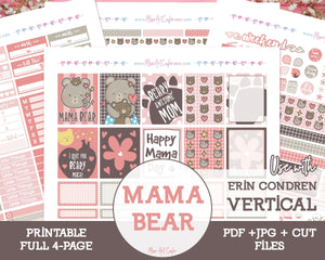 Printable Mama Bear Weekly Kit - Erin Condren Vertical - Miso Art Cafe