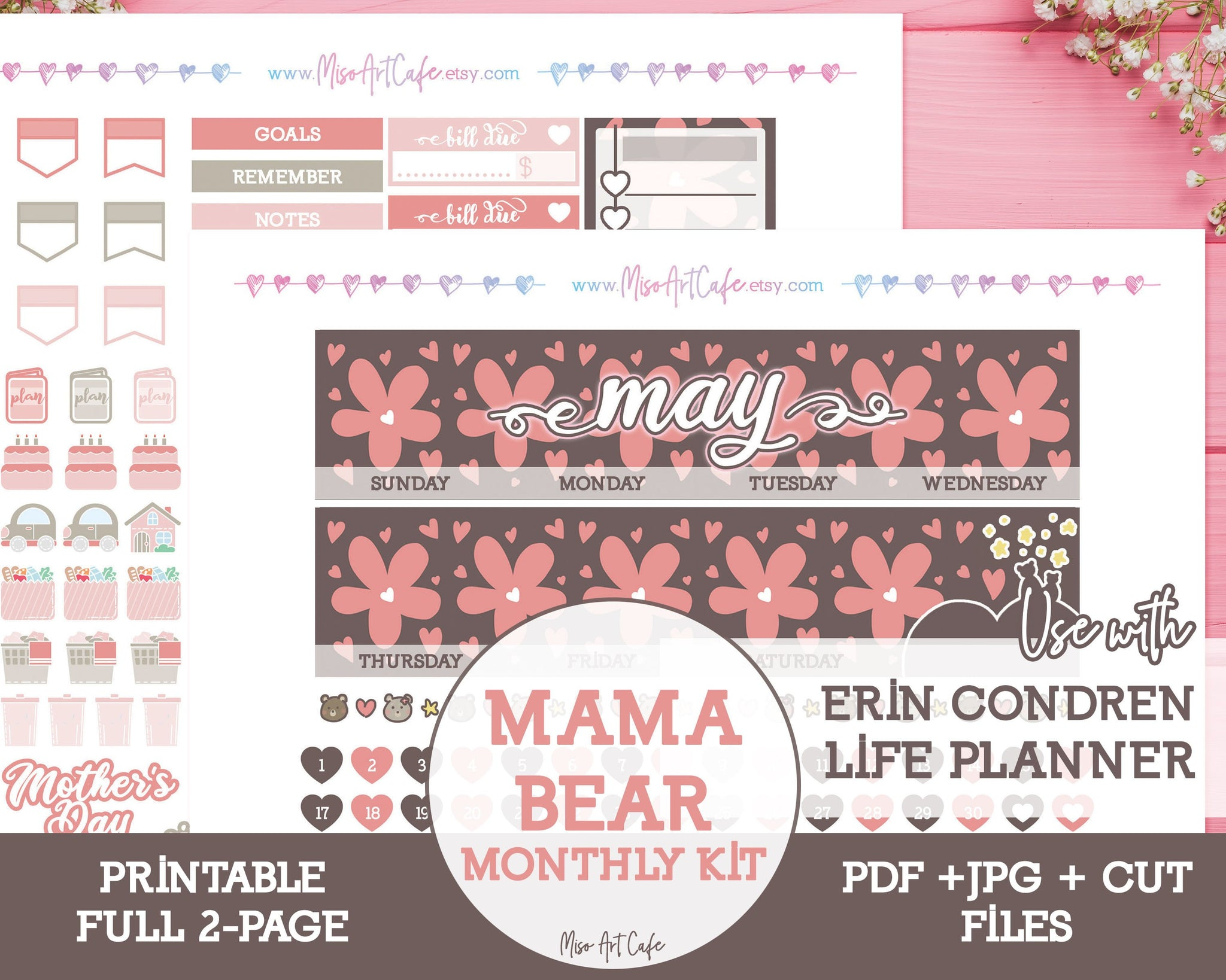 Printable MAY Mama Bear Monthly Kit - Erin Condren Life Planner - Miso Art Cafe