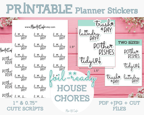 Printable House Chores Foil-Ready Scripts - Typography Planner Stickers - Miso Art Cafe