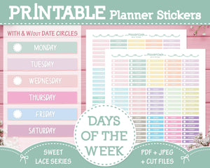 Printable Days of the Week - Sweet Lace Planner Stickers - Miso Art Cafe