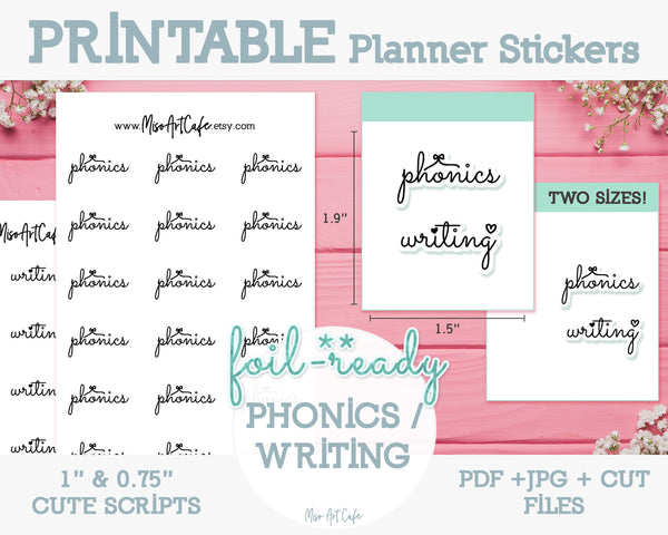Printable Phonics / Writing Foil-Ready Scripts - Typography Planner Stickers - Miso Art Cafe