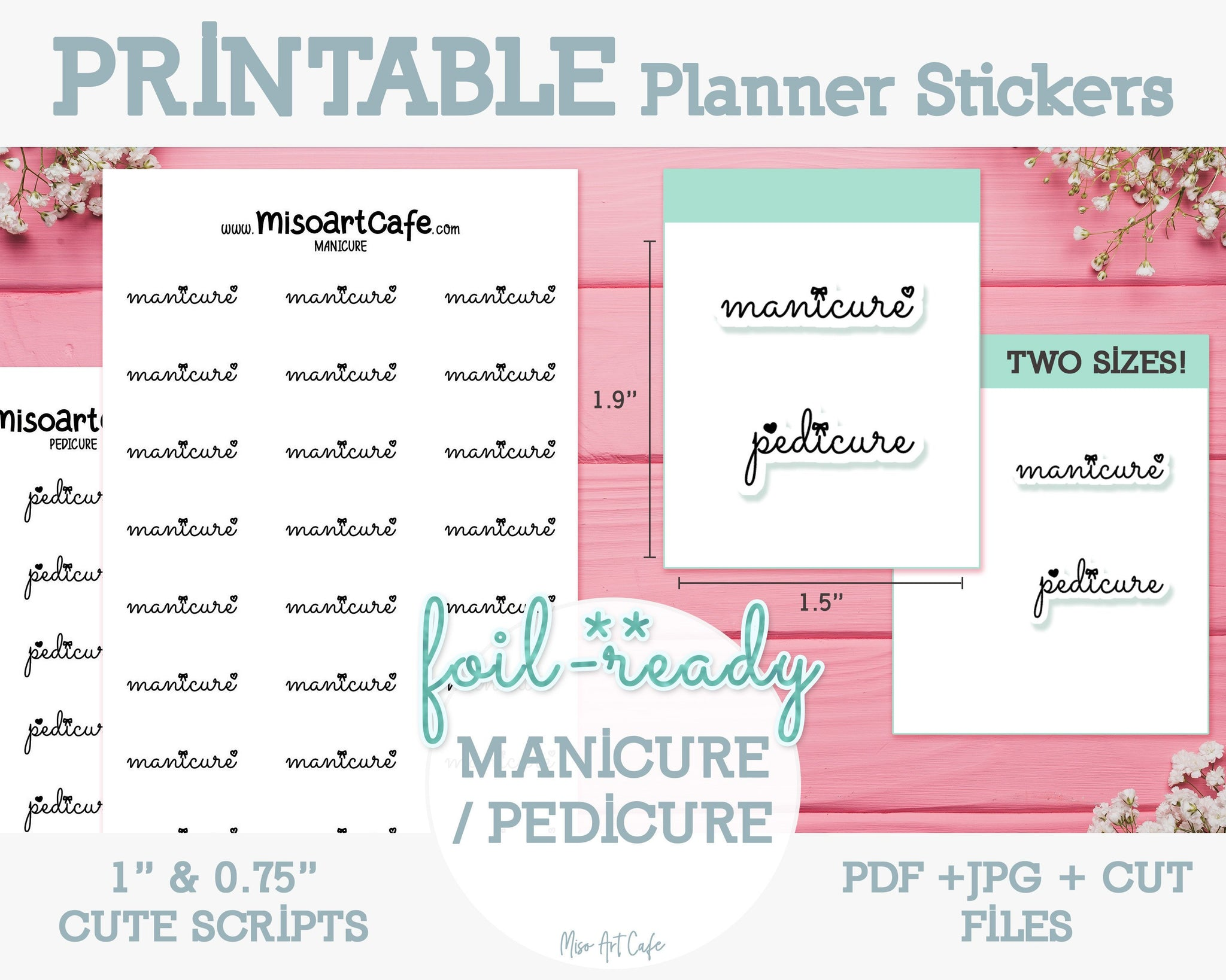 Printable Manicure / Pedicure Foil-Ready Scripts - Typography Planner Stickers - Miso Art Cafe