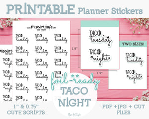 Printable Taco Tuesday Foil-Ready Scripts - Typography Planner Stickers - Miso Art Cafe